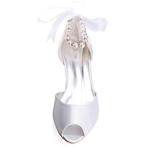 Scarpe da da Scarpe Satinato Basse Taglia da Elobaby Toe Donna Scarpe Cerimonia Abito Piatte Basso Sposa Peep Champagne Nuziale Xp5Rq5txw