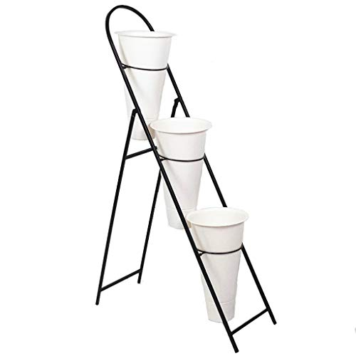 Foldable Flower Stand, Floor-Standing Multi-Layer Plant Stand, Suitable for Living Room Balcony Multi-Function Simple Flower Stand TYCGY (Color : White, Size : 100x65x25cm)