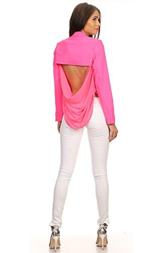 Sexy Cropped Jacket Blazer - MeshMe Womens Cassidy Hot Pink Long Sleeve Cropped Blazer Small Open Cut Out