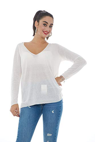 W's Neck In Cashmere V Donna Panna Woolrich Maglia FqnYdxw4FE