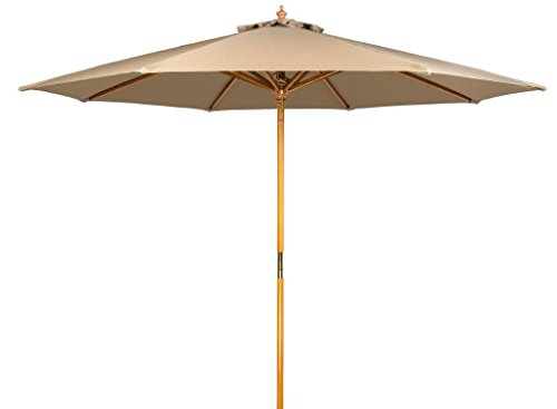 Trademark Innovations 9' Wood Frame Patio Umbrella (Tan) - 9' diameter beech wood rectangular patio umbrella with single pulley system 8 wood ribs. All wood has been treated with a weather resistant lacquer finish Insert pole into base (not included) gently to avoid scratching - shades-parasols, patio-furniture, patio - 31OaIWnrGDL -