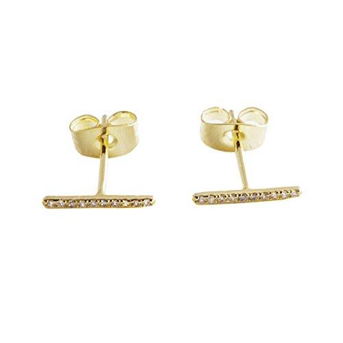 HONEYCAT Skinny Midi Crystal Bar Earrings in 24k Gold Plated | Minimalist, Delicate Jewelry -