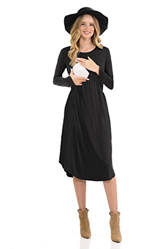 - CzzzyL Maternity Dress for Work, Womens Double Layers A Line Postpartum Clothes with Discreet Breastfeeding Knit Stylist Nursing Mama Dresses(Black,X-Large)