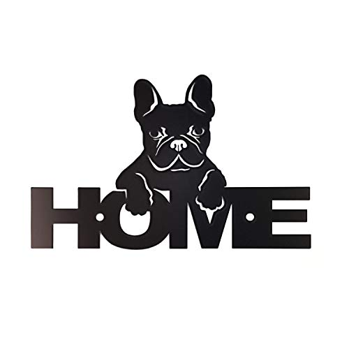 Pet Deco Metal Wall Decor for Dog Lovers | Perfect Home Decor Metal Sign for Your Door or Decorative Art for Your Wall | Featuring French Bulldog and Home Title | Wall Mounted, High-Grade Steel, Black
