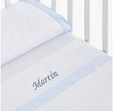 mibebestore - Sábanas 100% Algodón Capazo/Coche Personalizado con nombre de bebé bordado - Celeste: Amazon.es: Bebé