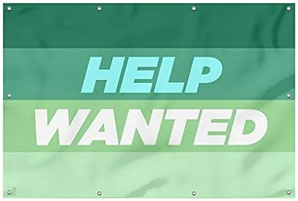 Help Wanted CGSignLab 8x8 Basic Navy Heavy-Duty Outdoor Vinyl Banner