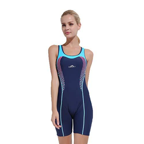 YEZIJIN Women Swimsuit Sexy One Piece Bodysuit Swimwear Professional Sport Bathing Suit Wetsuit top Long/Short Sleeve Dark Blue by Yezijin_Swimsuit (Image #4)