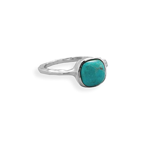 Stackable Ring Reconstituted Turquoise Square Shape Sterling Silver