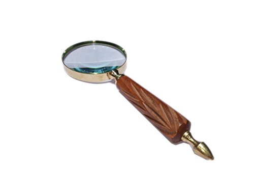 Handheld Magnifier with 2.5-3 inch Premium Brass Framed Magnifying Glass with Wooden Handmade Handle | Office Ware Decorative Zooming Lens By Hind Handicrafts (Design 6)