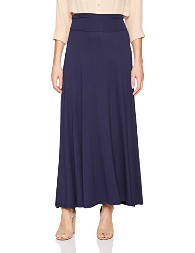 Blue Solid Skirt (AGB Women's Solid Maxi Skirt, Anytime Navy, M)