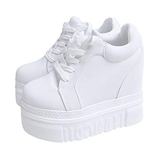 ACE SHOCK Women Fashion Platform Sneakers Wide Width High Hidden Heel Wedge Walking Shoes (8, Without Flower White)