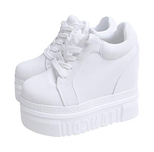 ACE SHOCK Women Fashion Platform Sneakers Wide Width High Hidden Heel Wedge Walking Shoes (8, Without Flower -