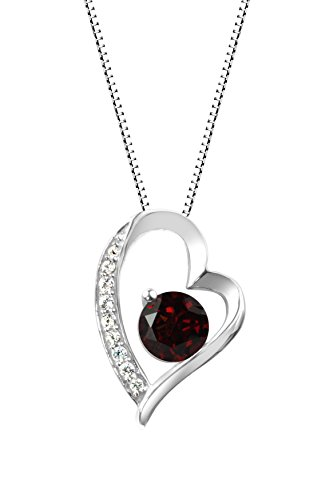 Sterling Silver 925 Round Garnet and Lab-Created White Sapphire Heart Pendant Necklace, 18
