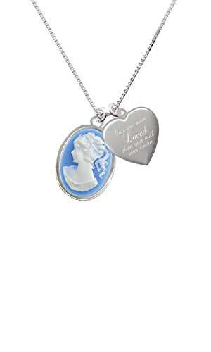 Oval - Blue Cameo - You are more Loved Heart Locket Necklace