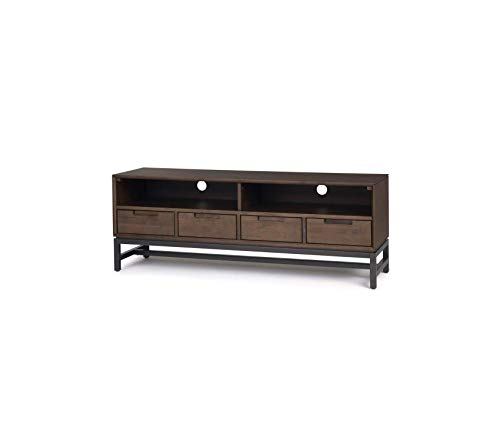 Wood & Style Banting Solid Hardwood and Metal 60 inch Wide Modern Industrial Low Entertainment TV Stand in Walnut Brown for TVs up to 65 inches Decor Comfy Living Furniture Deluxe Premium Collection