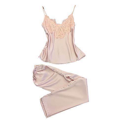 Women Sleepwear Sleeveless Strap Nightwear Lace Trim Satin Cami Top Pajama Sets (Pink C, (Lace Trim Japan)