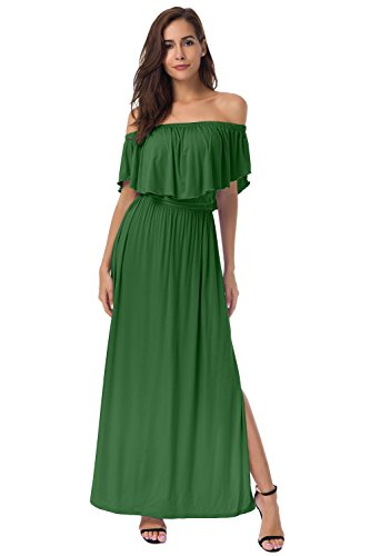 Solid Color Women Dresses - AMII Womens Casual Solid Color Off Shoulder Modal Long Maxi Dress (S, Green)