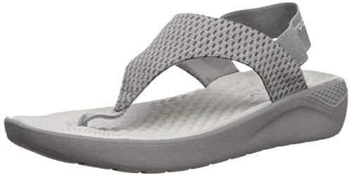 Crocs Women's Literidemshflpw Flip-Flop, Smoke, 11 M US - Mesh Wedge Sandals