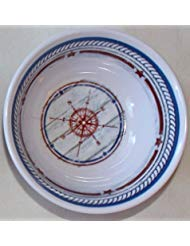 Nantucket Home Melamine Ware Navy Compass Melted Butter Dip Bowls for Lobster, Set of 4