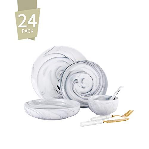 Singkasa 24-Piece Stoneware Marble Modern Dinnerware Set, Service for 4, Dinner Plates, Dessert Plates, Cake Plates, Fruit Bowls, Sugar bowls, Soup bowls Spoon, 2-Knife & Fork for Kitchen (grey)