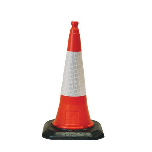 2 Piece Top and Bottom High Quality Safety Emergency Accident Traffic Road Cone with Reflective Strip - 750mm XL