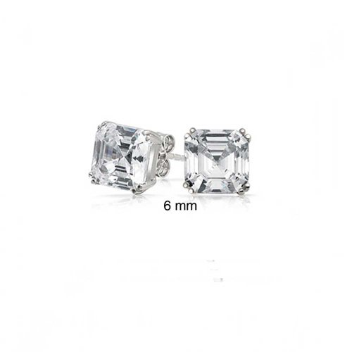 Bling Jewelry Unisex Asscher Cut Square CZ Stud earrings 925 Sterling Silver (Asscher Stud Earrings)