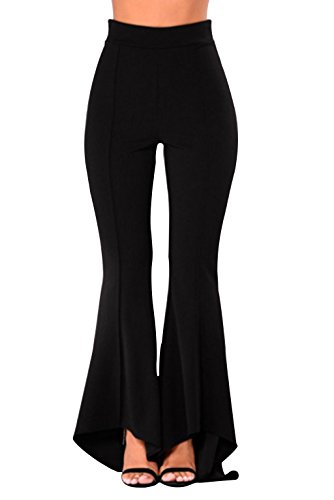 0872323d36 GUOLEZEEV Womens Elastic Waist Bell Bottom Pants Wide Leg Flare Trousers