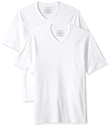 Amazon Essentials Men's 2-Pack Loose-fit V-Neck T-Shirt, White, Large