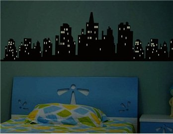 Superb Glow In The Dark City Image Design PVC Wall Decal Stickers (120