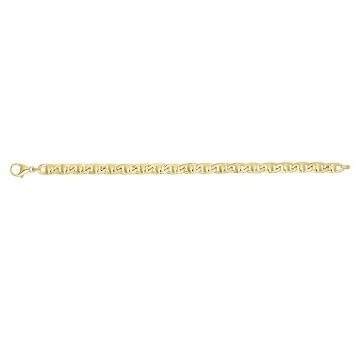 14k Yellow Gold 5mm Shiny Square Tube Mariner Style Men's Link Bracelet, Lobster - 8.5 Inches, 10.5gr