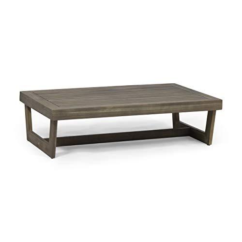 Great Deal Furniture Hannah Outdoor Acacia Wood Coffee Table, Gray (Wood Acacia Durability Furniture)