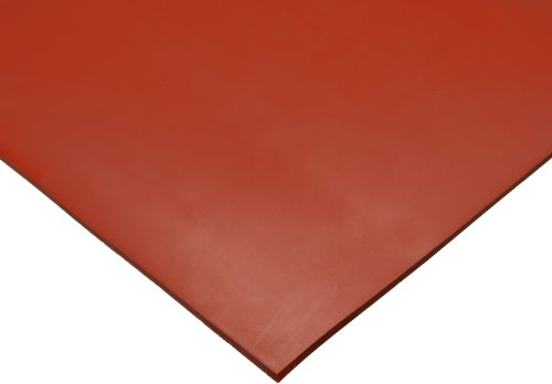 SBR (Styrene Butadiene Rubber) Sheet, 75 Shore A, Red, Smooth Finish, No Backing, 1/8'' Thickness, 12'' Width, 12'' Length by Small Parts