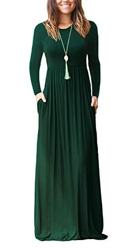 Corta Verde Delle Con Maxi Semplici Lungo Sciolto Manica Tasche Vestiti Abiti Scuro Manica Donne Lunghi Euovmy Casuali Zf5qY5