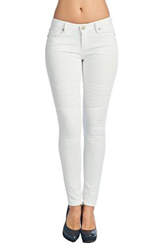 Vialumi Women's Solid Five Pocket Stretch Moto Skinny Jeans White 11 ()