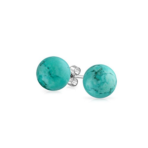 (Simple Gemstone Stabilized Turquoise Round Ball Stud Earrings For Women 925 Sterling Silver 7MM)