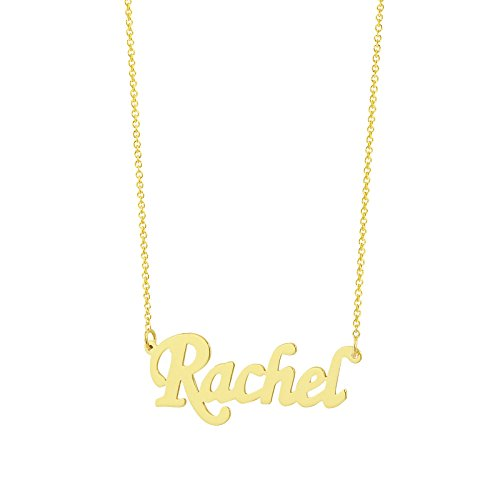 10k Name Necklace Script (Solid 10k Gold Dainty Small 1 Inch Name Necklace Personalized Script Monogrammed Minimal Jewelry (20))