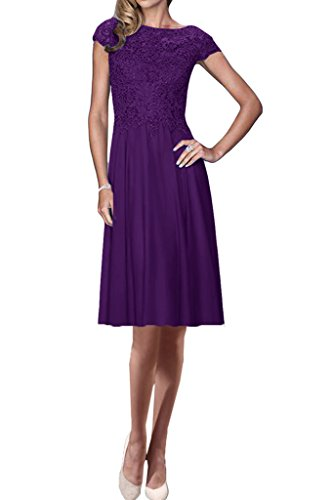 Linie Kurz amp;Spitze Aermel Promkleid Chiffon Kurz Violett Exquisite Damen Abendkleid Lang Ivydressing Partykleid A wxAqXZB0
