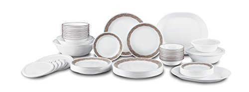Corelle Livingware 74 Piece Sand Sketch Dinnerware Set with Storage Lids, White