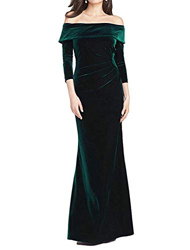 (TTYbridal Off Shoulder Evening Dresses Long Velvet Bridesmaid Gown Wedding Party Dress V4 Dark Green 16)