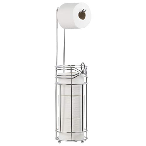 Richards Homewares ARIA Hook Modern Style Toilet Paper Reserve Holder with Dispenser - Beautiful Chrome Finish - Hold 4 Tissue Rolls - No Assembly Required - Free Standing Bathroom Storage Accessory