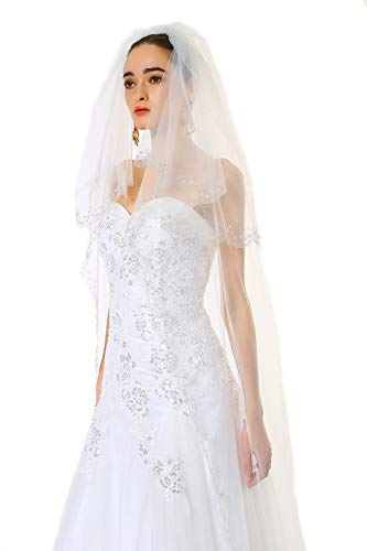 Floral Voile Dress - Passat Ivory 2 Tiers 5M NEW! Floral Beaded Scallop Edge Cathedral Wedding Bridal Veil 224