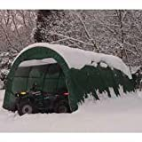 One Car Garage, Round Style, 12'W X 20'L X 8'H, Green