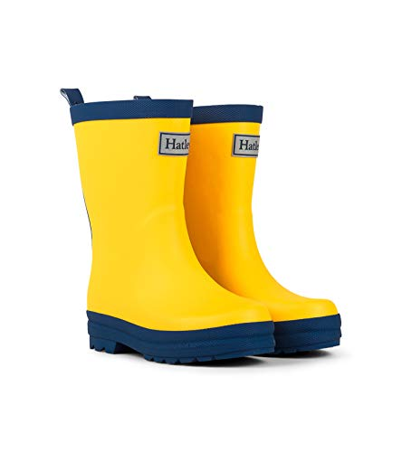 yellow and navy rain boots - 3