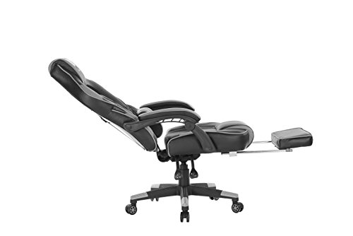 KILLABEE Reclining Memory Foam Racing Gaming Chair - Ergonomic High-Back Racing Computer Desk Office Chair with Retractable Footrest and Adjustable Lumbar Cushion, Grey by KILLABEE (Image #5)