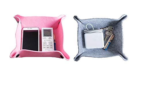 Larissa Felt Valet Tray, DIY Nightstand Desktop Dresser Catchall Tray for Men and Women, Desk Storage Plate for Jewelry, Key, Cell Phone, Wallet, Coin,Watches, Grey & Pink, 2 - Tray Inch 9.8