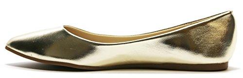 Walstar Women's Gold Pu Comfortable Shoes Point Pumps Toe Flat Metallic qqzwrdFA