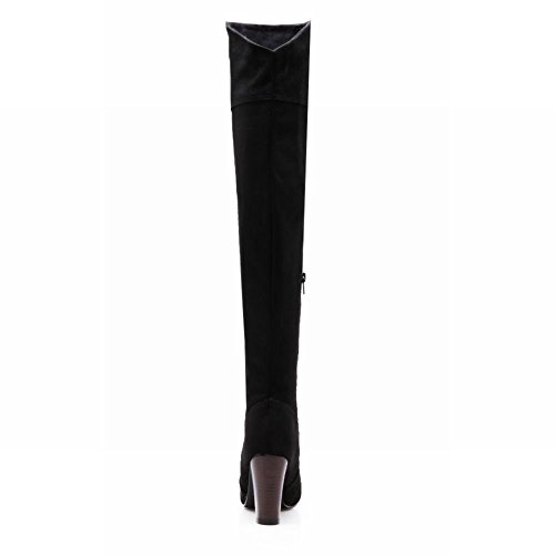 The Knee High Boots Carolbar Women's Charm Black Heel Over 464vCnT