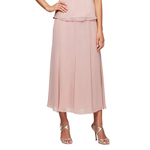 Jacket Top Skirt Pants - Alex Evenings Women's Petite Twinset Tank Top Jacket and Dress Pants or Skirt Outfit, Blush Chiffon, LP