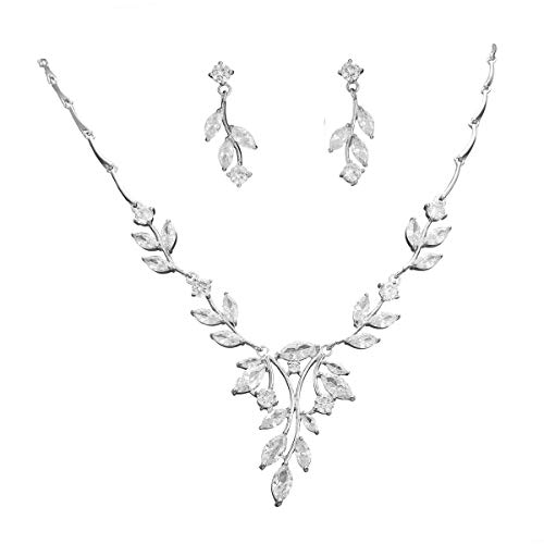 S SNUOY CZ Bridal Jewelry Sets for Women Leaf Shape Necklace Earrings Sets Wedding Jewelry