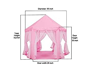 Large Indoor and Outdoor Kids Play House Pink Hexagon Princess Castle Kids Play Tent Child Play Tent